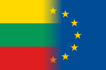 Lithuania national flag with a flag of European Union twelve gold stars, ideals of unity with EU, member since1 May 2004. Vector flat style illustration