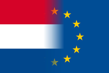 The Netherlands national flag with a flag of European Union twelve gold stars, solidarity and harmony with EU, member since 1 January 1958. Vector flat style illustration