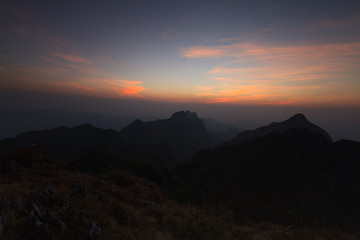 Landscape high mountain sunset at Doi Luang Chiang Dao, in Chiang Mai Province, Thailand