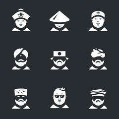 Vector Set of Nation people Icons.