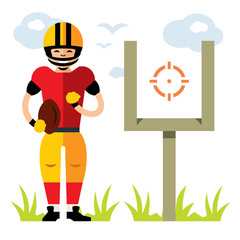 Vector American football player. Flat style colorful Cartoon illustration.