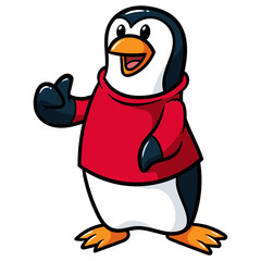 Cartoon Penguin Wearing Shirt Giving Thumbs Up Vector Illustration