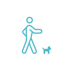 Walking with dog vector icon