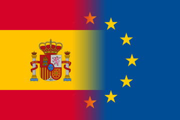 Spain national flag with a flag of European Union twelve gold stars, solidarity and harmony with EU, member since 1 January 1986. Vector flat style illustration