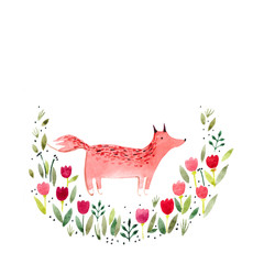 Watercolor illustration: a fox in tulips