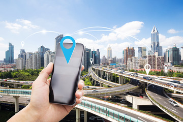 mobile phone with elevated road in intelligence city