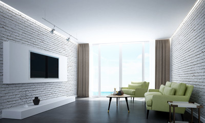 Interior design of modern living room and white brick wall and sea view
