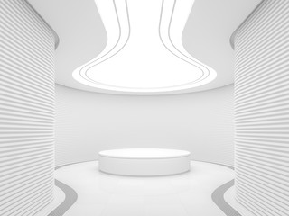 Empty white room modern space interior 3d rendering image.circle room with display stand in the center of the room. Decorate the room wall with horizontal lines.