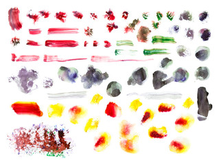 Watercolour textured brush strokes collection. Hand painted brush strokes isolated on white background.