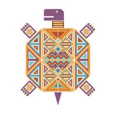 Разноцветное изолированное графическое декоративное изображение черепахи с геометрическими узорами из треугольников и квадратов.