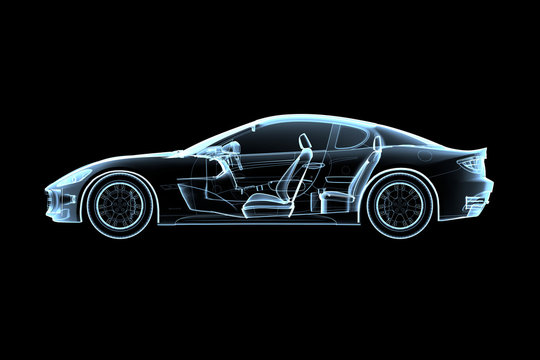 illustration of cars in x-ray style