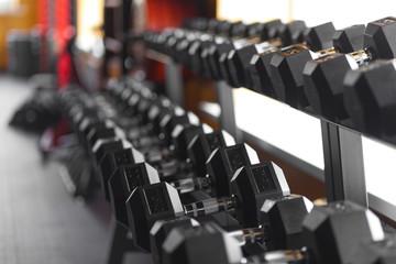 metal dumbbells  in the gym