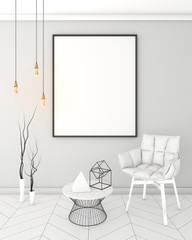 mock up poster frame in light interior background, modern style, 3D render, 3D illustration, 3D viz
