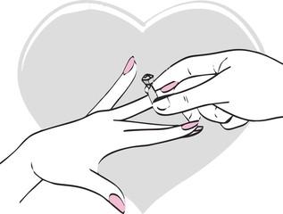 line art - wedding rings - ceremony