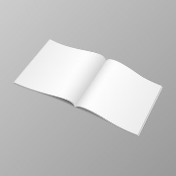 Opened magazine mock up with blank space. Vector illustration template of copybook, catalog.