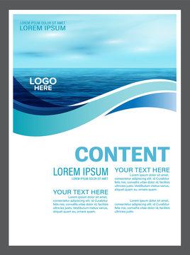 summer seascape brochure flyer mock up template layout for tourism travel