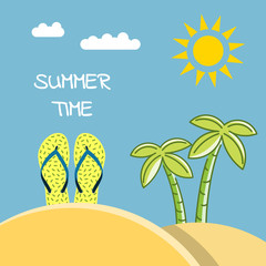 Banner summer time with a picture of a beach slap, flip flops and a place for a label. Illustration of a beach holiday