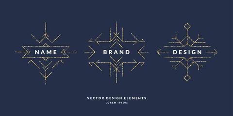 Set of modern geometric framework for text of gold glitter on a dark background. Vector illustration