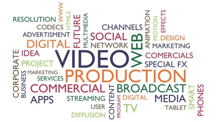 Video production word tag cloud. 3D rendering, white variant.