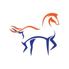 Horse Simple Silhouette in Line Art Illustration