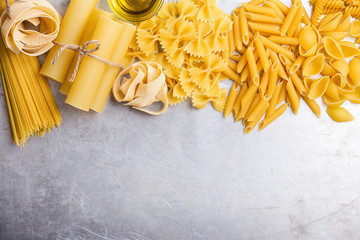 Italian cuisine cooking ingredients, variety of pasta shapes