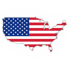 United States Map Outline with American Flag on White with Shadows 3D Illustration