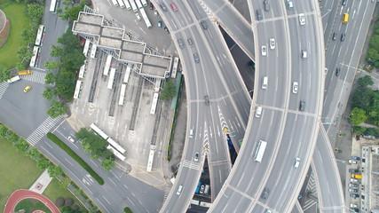 上海 中国 チャイナマネー 空撮 ドローン 高速道路 合流車線