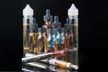 Collection of electronic cigarette equipment with smoke