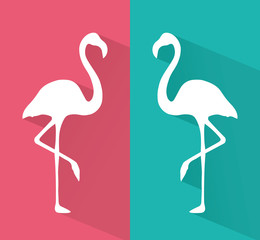 two beautyful flamingo vector icons with flat shadow