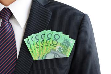Money,Australian dollar (AUD) banknotes, in businessman suit pocket