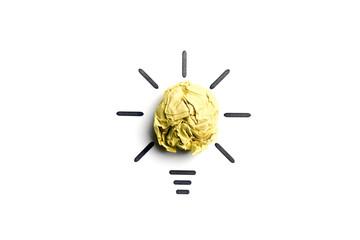 Crumpled paper light bulb. Metaphor for good idea. Inspiration concept