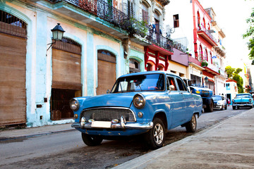 Old American Classic Cars in the streets of Old Havana, Cuba