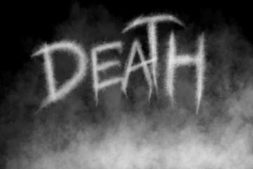Fog or Smoke Text Death on black Background