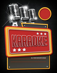 Template flyer for Karaoke Party, Design with typographic elements with classic microphone's background.
