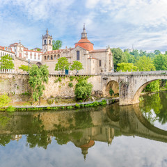 View at the church of Sao Domingos and monastery Sao Goncalo over Tamega river in Amarante ,Portugal