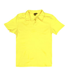 Blank yellow t-shirt isolated on a white background