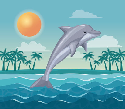 colorful poster sky landscape of palm trees on the beach and dolphin jump in the waves