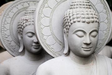 close up of stone Buddha statue