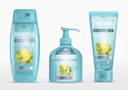 Shampoo packaging, cream tube, soap bottle with water drops  template design. Cosmetic brand template. Body care products. Vector illustration.