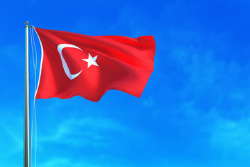 Turkey (Turkish) flag on the sky background. 3D illustration