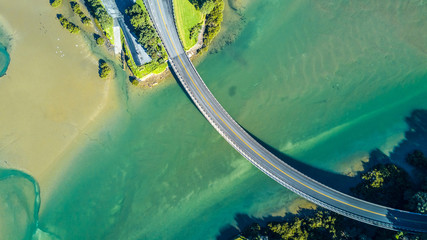 Aerial view on a bridge across the river. Auckland, New Zealand.