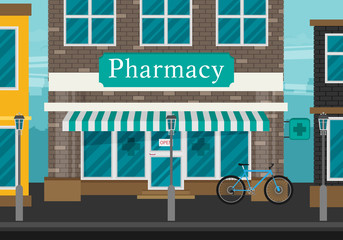 Facade of pharmacy flat vector.