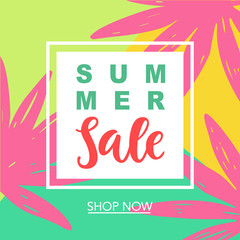 Summer Sale Modern Banner Template Background with tropical leaves in bright trendy colors