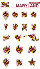 Maryland Flag Collection. Big set for design.