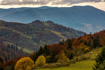 mountainious rural area in late autumn