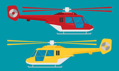 Helicopter in flat style. Vector illustration.