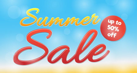 Summer sale - concept on sunny background. Vector.