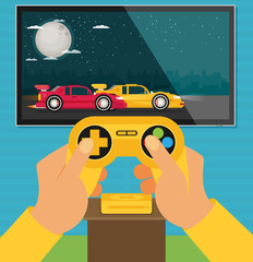 Vector flat video game illustration. Racing game.