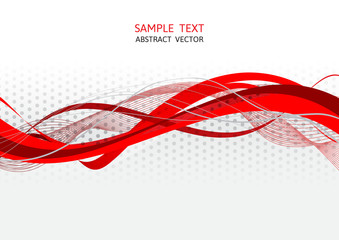 Red and gray wave abstract vector