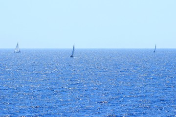 Sailing ships near Split, touristic destination on Adriatic sea in Croatia